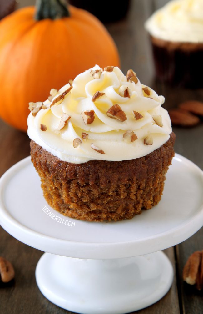 These pumpkin cupcakes are super moist, incredibly delicious and topped off with cream cheese frosting (with a dairy-free option). Can be made with gluten-free, 100% whole grain or all-purpose flours.