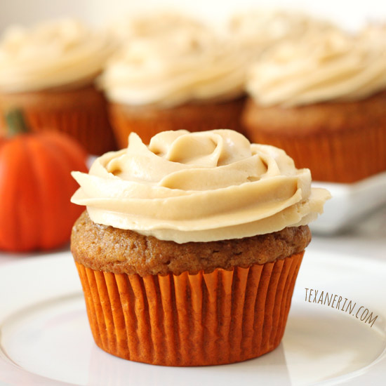 Pumpkin Cupcakes - super moist and delicious, these 100% whole grain cupcakes are made healthier! | texanerin.com
