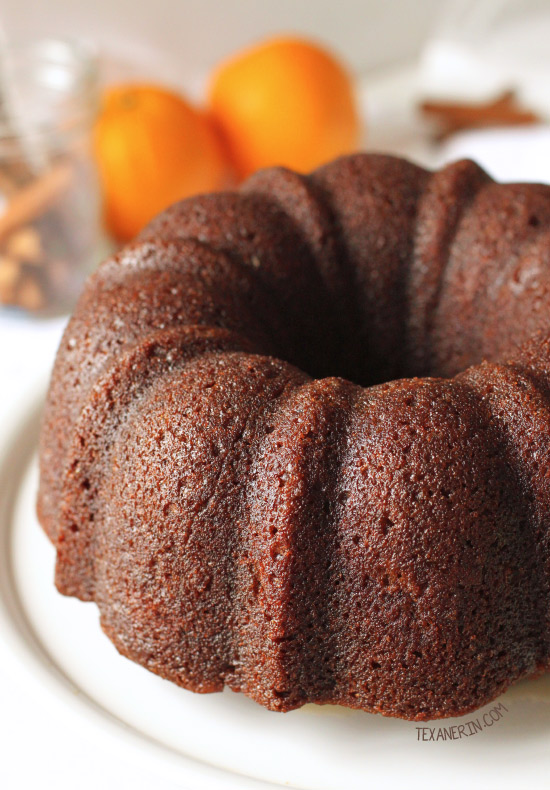 Orange Pumpkin Gingerbread Bundt Cake {100% whole wheat and dairy-free options}