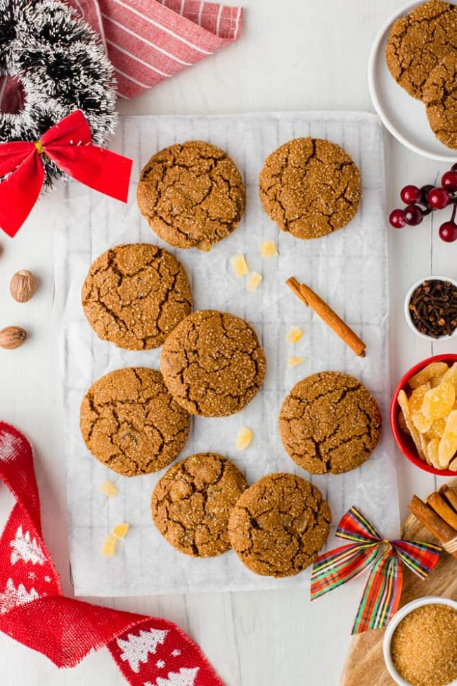 These awesome chewy gingerbread cookies are 100% whole grain (but can also be made with all-purpose flour) and have a vegan option. Seriously the best ginger cookies ever!