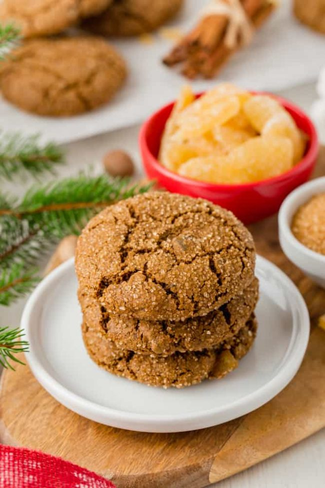 These chewy gingerbread cookies are 100% whole grain (but can also be made with all-purpose flour) and have a vegan option. Seriously the best ginger cookies ever! Naturally dairy-free.