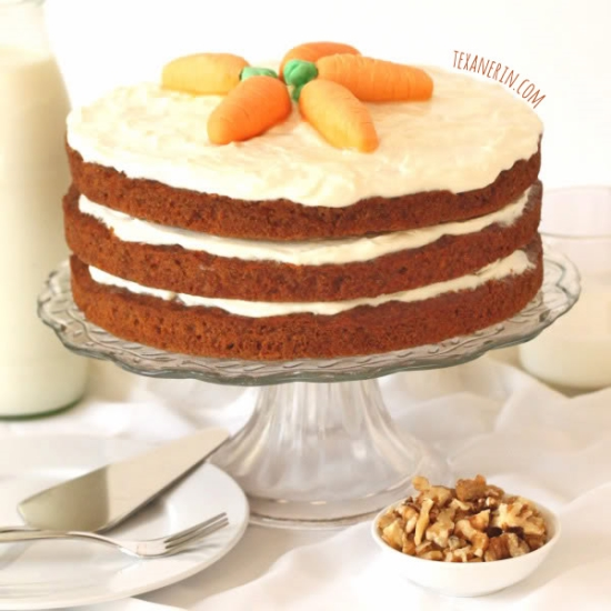 This 100% Whole Wheat Carrot Cake is incredibly moist and nobody will believe it's whole grain!