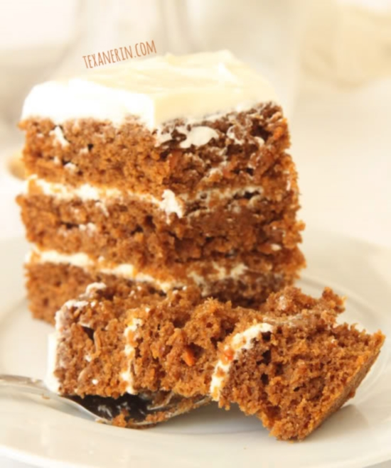 This incredibly moist 100% Whole Wheat Carrot Cake is amazingly tasty and nobody will believe it's whole grain! From texanerin.com.