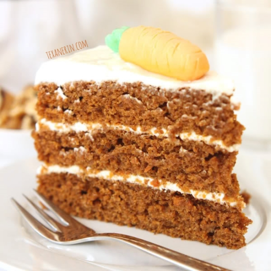 This 100% Whole Wheat Carrot Cake is incredibly moist, delicious and nobody will believe it's whole grain! From texanerin.com