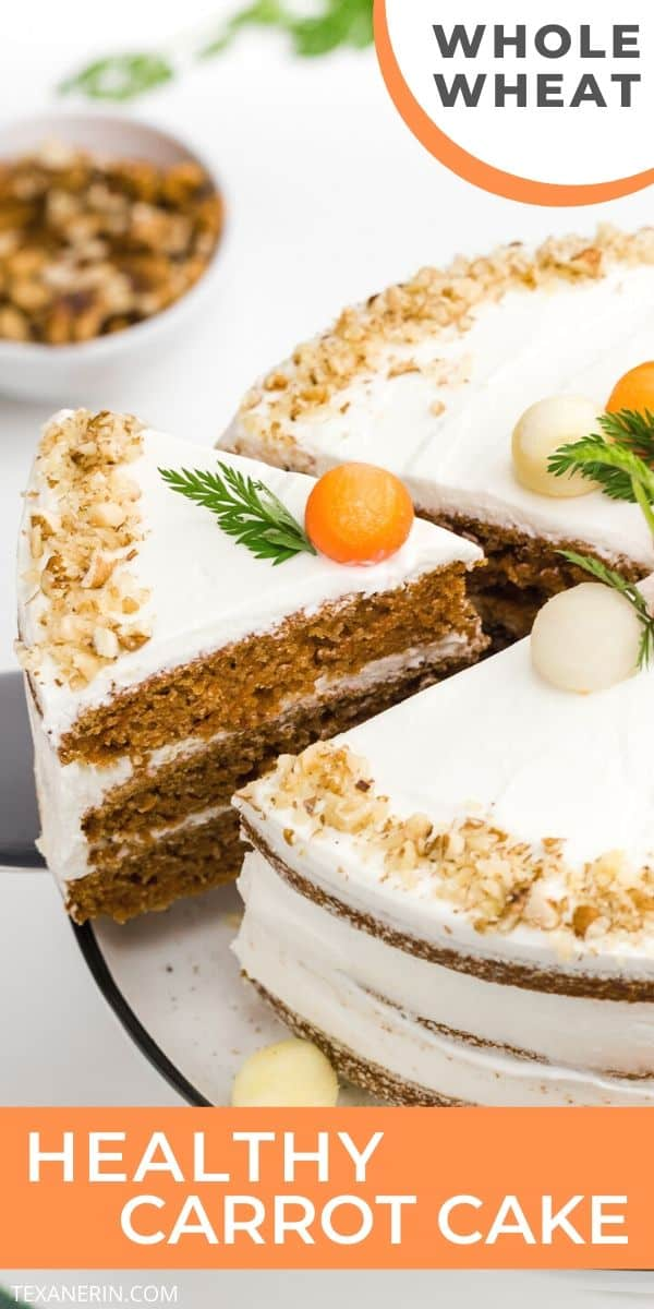This Healthy Carrot Cake is incredibly moist and nobody will believe it's whole grain! With a delicious, less sugary cream cheese frosting. Can also be made with all-purpose flour.