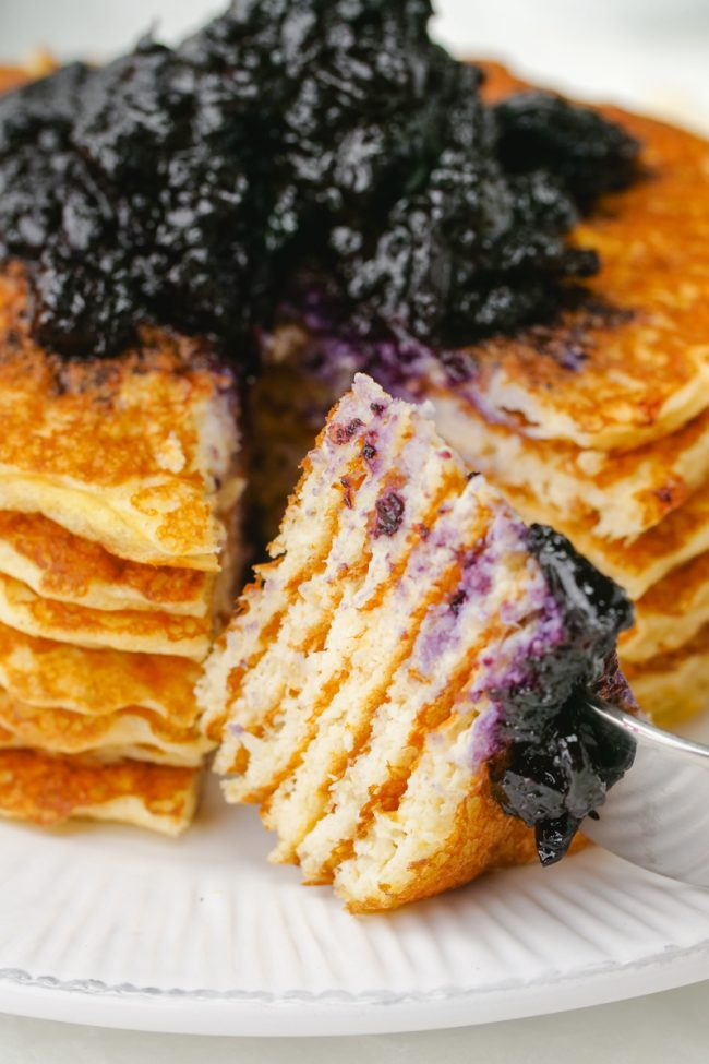These delicious protein pancakes get a nutritional boost from cottage cheese and Greek yogurt! The recipe makes enough for just two people but you can easily double or even quadruple the recipe. Can be made gluten-free or whole grain.