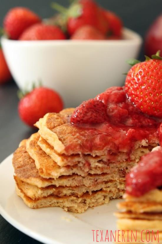 Protein Pancakes for Two - no added sugar, 100% whole grain, and with a gluten-free option!