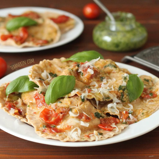 Ravioli Caprese – can be made glutenfree or whole grain! Great as an appetizier or main dish
