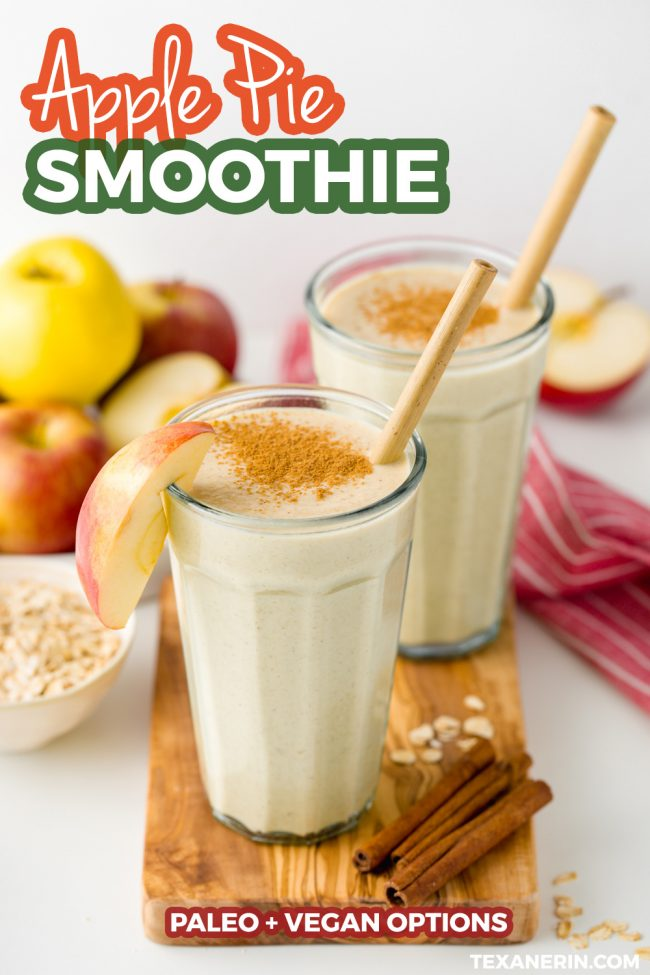 This apple smoothie is thick, creamy and so delicious. Think of it as a fuss-free, less sugary and more healthy version of apple pie. With vegan and paleo options.