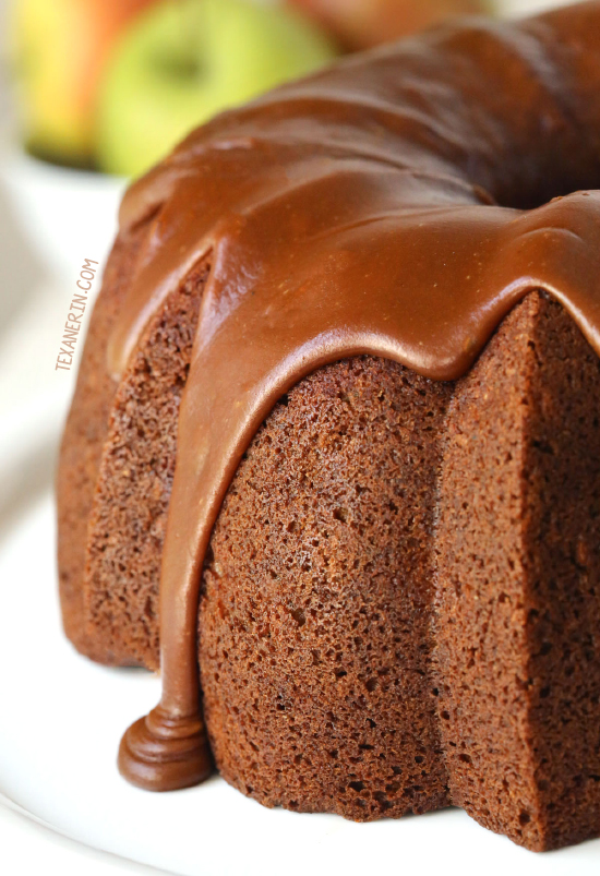 Healthier Apple Cream Cheese Bundt Cake with a Praline Frosting {100% whole grain but can also be made with all-purpose flour}