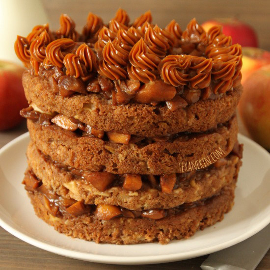 Apple Blondie Cake – a cake made out of layers of 100% whole grain apple blondies and filled with cooked apples! | texanerin.com