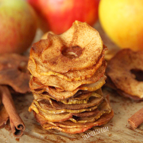Homemade Maple Cinnamon Apple Chips - can be sugar-free or lightly sweetened with maple syrup! Naturally vegan and gluten-free.