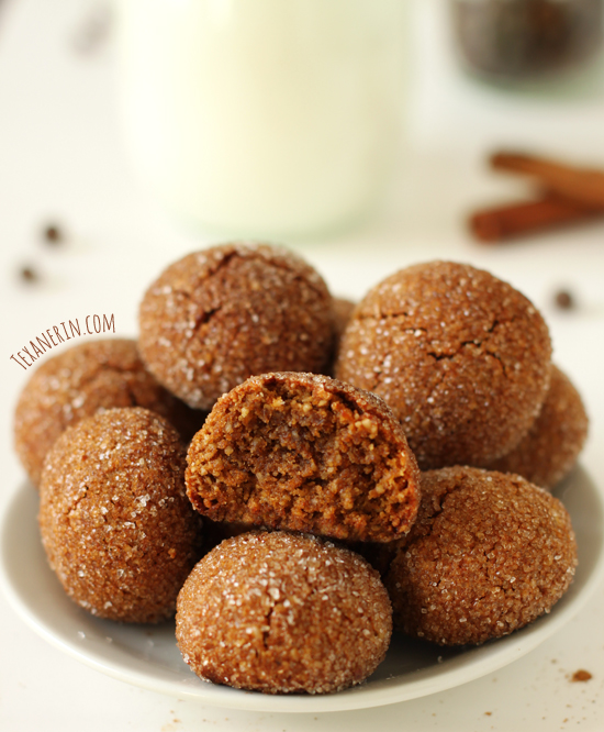 Soft and Chewy Paleo Ginger Cookies (grain-free, gluten-free, dairy-free) from texanerin.com