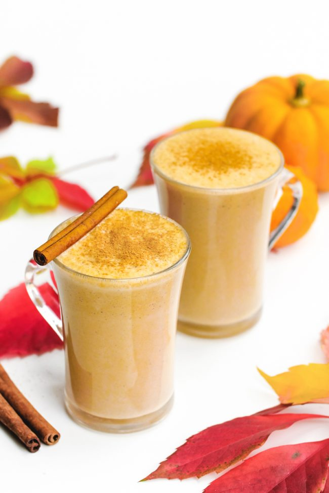 This pumpkin chai latte is lightly sweetened with maple syrup and is full  of warm,