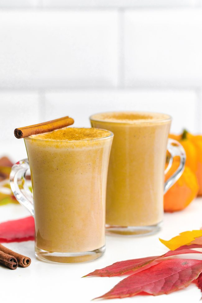 This pumpkin chai latte is lightly sweetened with maple syrup and is full of warm, cozy fall spices!