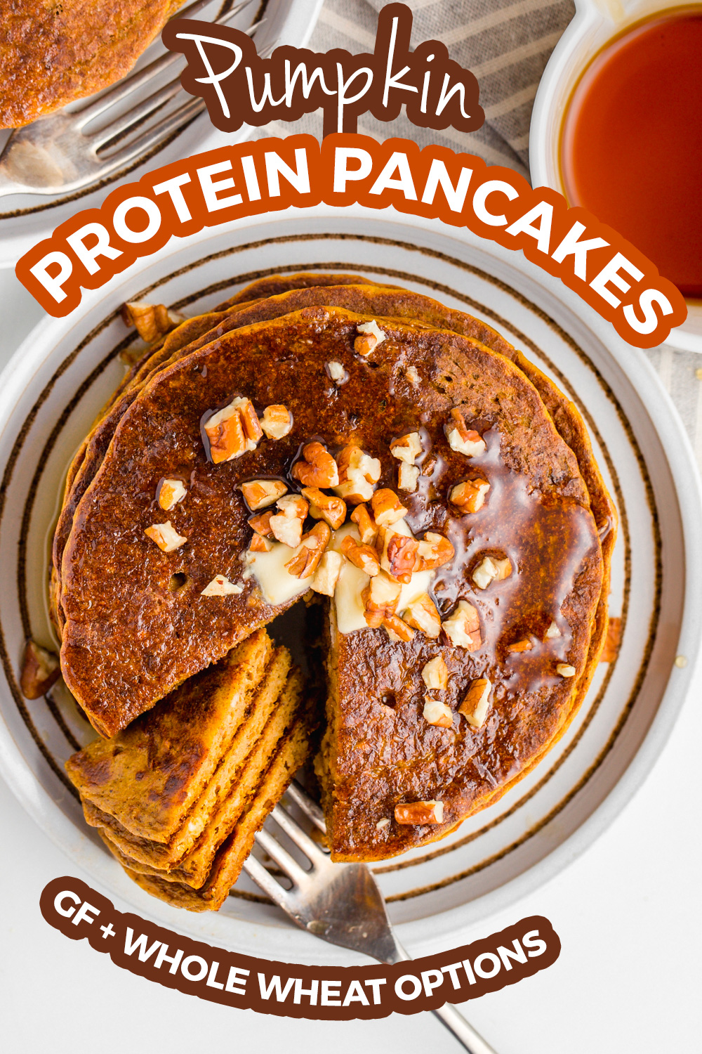 These easy pumpkin pancakes have an amazing texture! Unlike other healthy pumpkin pancakes, these aren't at all bready and taste amazing. With whole wheat and gluten-free options.
