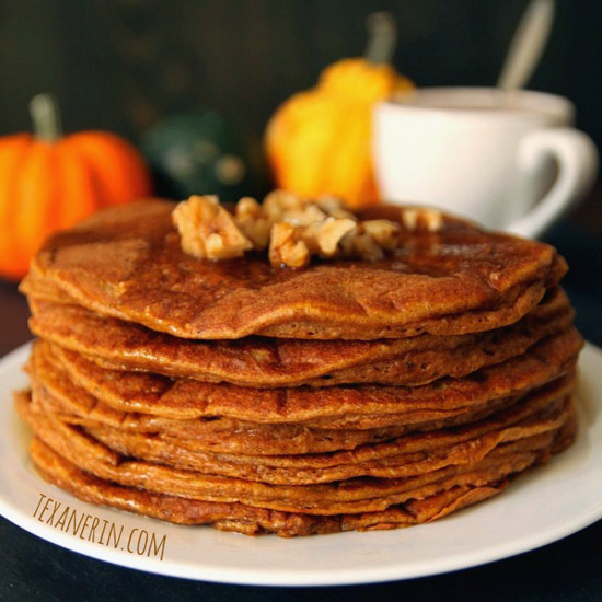 Pumpkin Pancakes - 100% whole grain, full of protein and have the most amazing texture! | texanerin.com