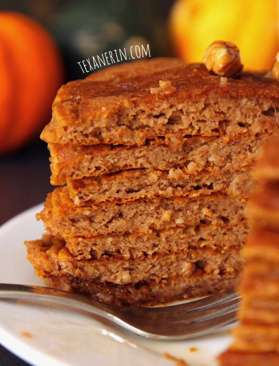 100% Whole Grain Pumpkin Protein Pancakes - you will not believe that these are made healthier and are full of protein! | texanerin.com