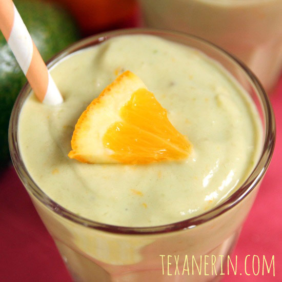 This easy healthy banana orange avocado smoothie, with a paleo and vegan option, really benefits from the addition of avocado! It adds extreme creaminess and nutrition that you won't find in other smoothies