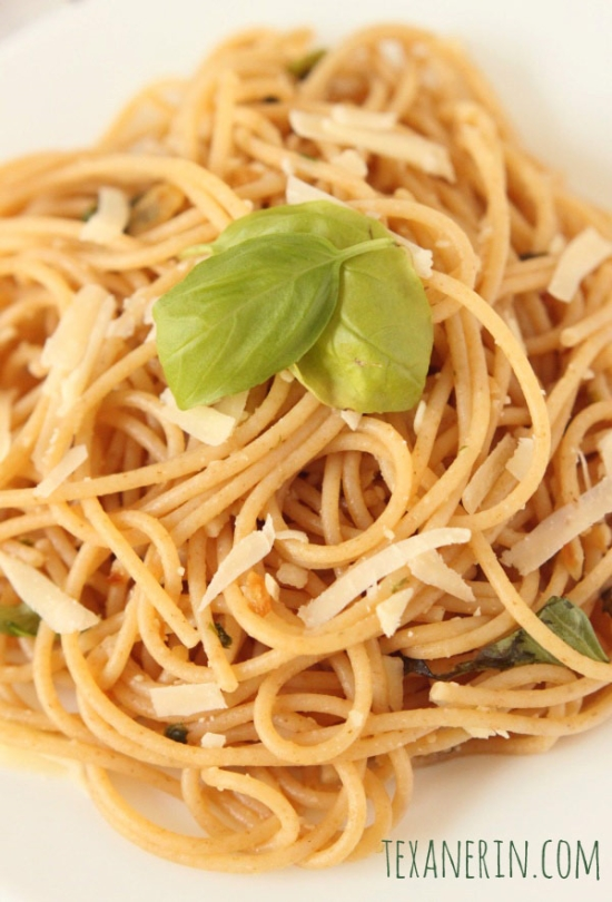This Lemon Garlic Spaghetti is the perfect busy weekday meal! Can be made whole wheat or gluten-free.