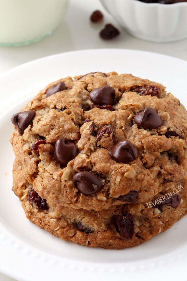 100% Whole Grain Soft and Chewy Oatmeal Raisin Cookies. With dairy-free option and can also be made with all-purpose flour