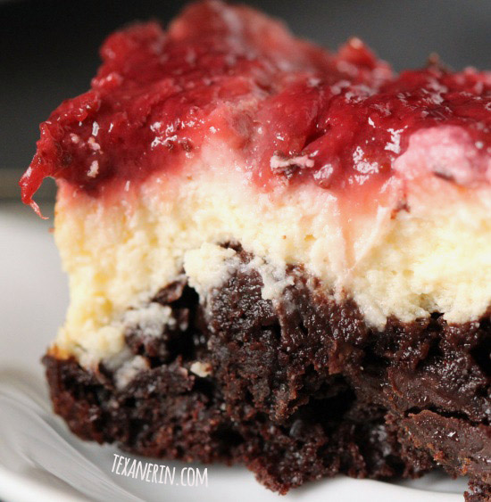 100% whole grain strawberry cheesecake brownies made healthier – and there's no added fat!