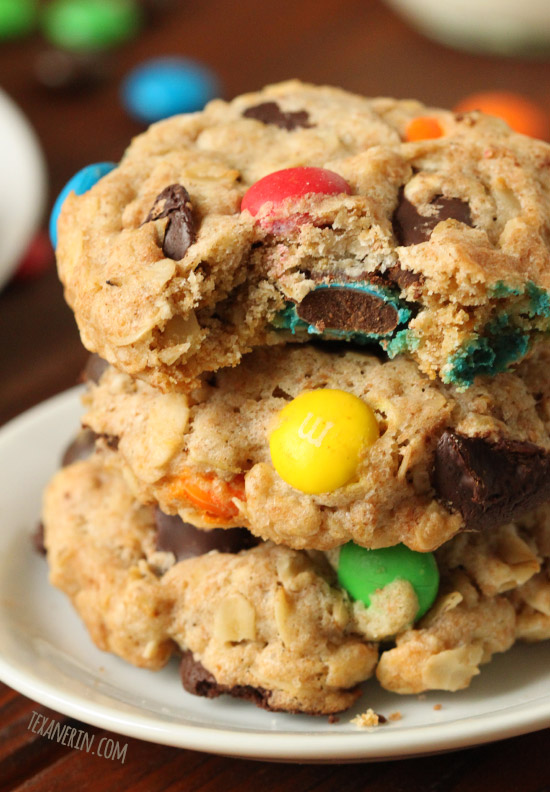 These 100% whole grain and dairy-free M&M cookies are made a little healthier with coconut sugar, coconut oil and whole wheat flour!