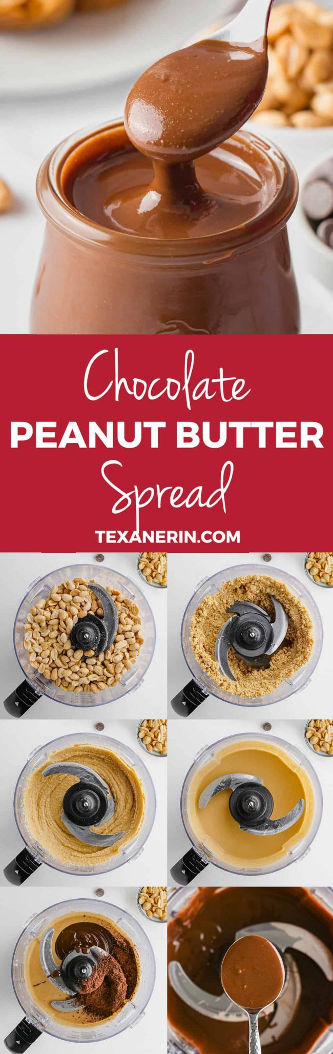 This chocolate peanut butter spread only requires a few ingredients and takes just minutes to make! Naturally gluten-free, vegan and dairy-free.