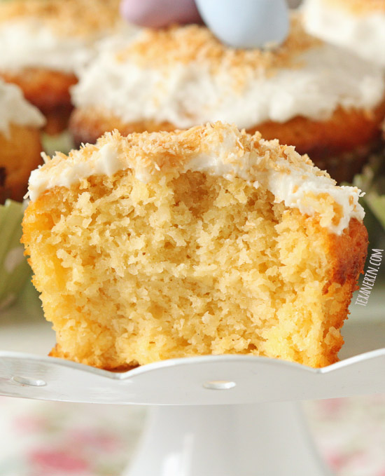 These coconut cupcakes are made with coconut and almond flour and have an amazing texture! And as a bonus, they're gluten-free, grain-free and dairy-free