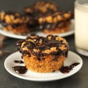 Ganache Stuffed 100% Whole Grain Peanut Butter Cookie Muffins