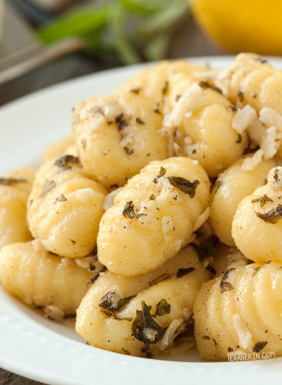 This 5 ingredient browned butter and sage lemon gnocchi couldn't be any easier! A perfect weeknight dinner or side dish. Can be made gluten-free or whole grain.