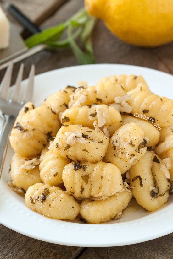 This 5 ingredient browned butter and sage lemon gnocchi couldn't be any easier! A perfect side or main dish. Can be made whole grain or gluten-free.