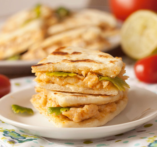 Cheesy and Creamy Chicken Quesadillas from texanerin.com