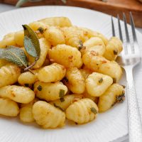 Sage Butter Gnocchi on plate with sage on top