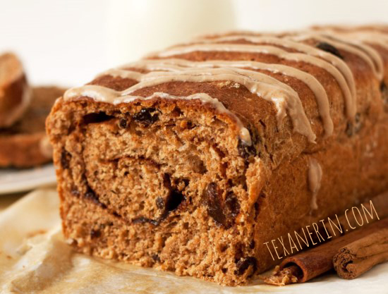 100% Whole Spelt Cinnamon Raisin Bread - healthier and delicious! Also happens to be vegan and dairy-free | texanerin.com