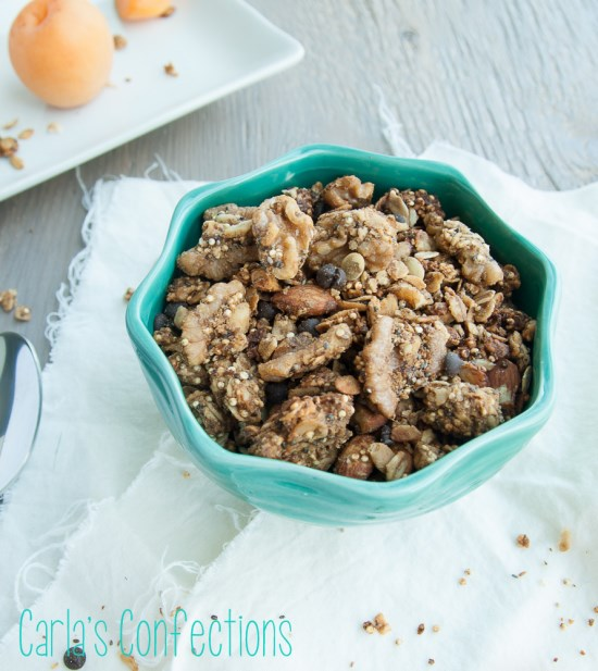 Gluten-free Assorted Nut and Seed Healthy Quinoa Granola | texanerin.com