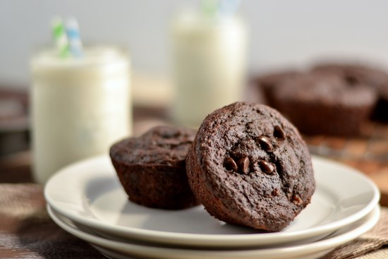 100% Whole Wheat Double Chocolate Chip Muffins | texanerin.com