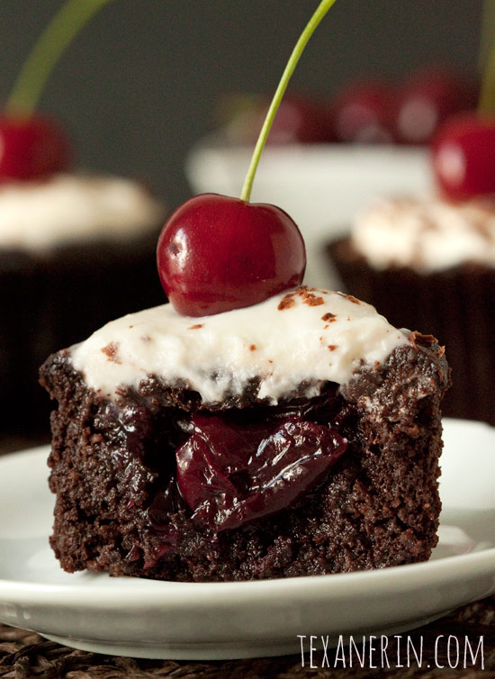 Honey Sweetened Black Forest Cupcakes – Gluten-free and Grain-free | texanerin.com