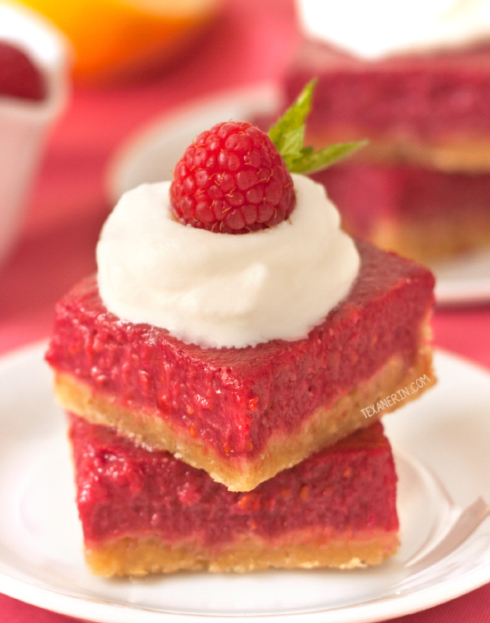 Healthier Raspberry Lemon Bars – 100% whole grain and honey-sweetened (can also be made with all-purpose flour)