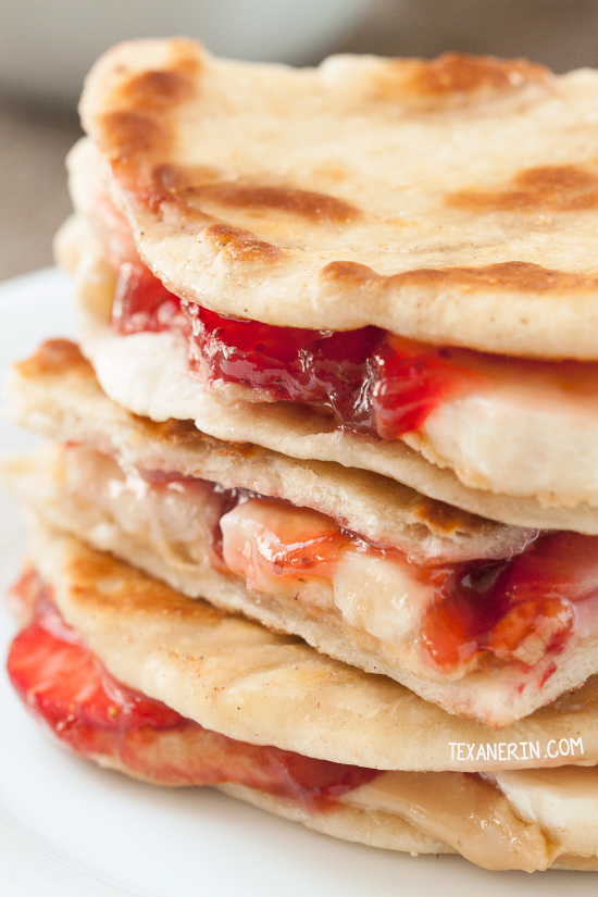 Peanut Butter, Strawberry and Banana Quesadillas can be made gluten-free, whole grain, vegan, and dairy-free.