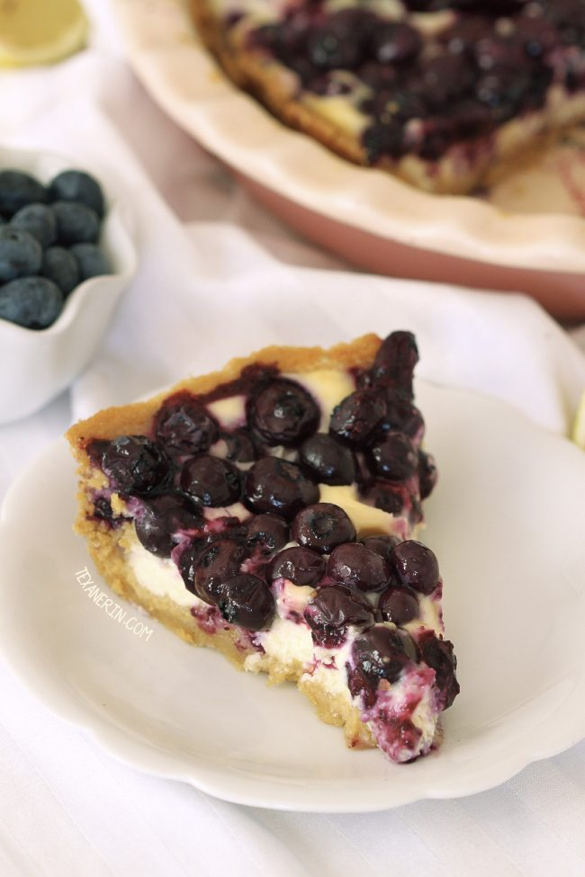 Blueberry Cream Cheese Pie  – creamier, smoother and gooier than regular cheesecake. With a cookie crust!