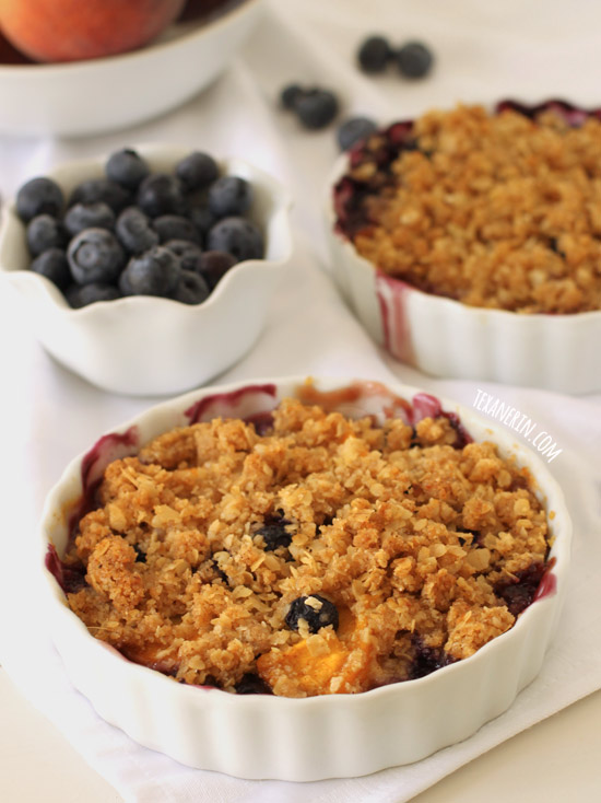 Blueberry Peach Crumble –  uses oats and ground up oats, meaning it's coincidentally gluten-free and 100% whole grain!