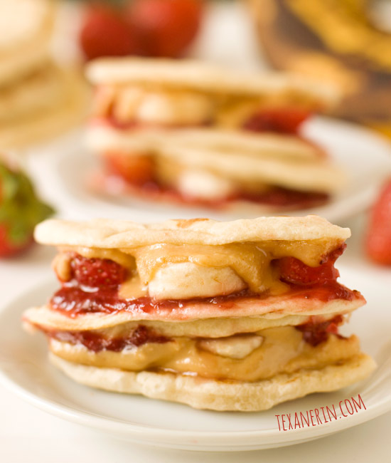 Peanut Butter, Strawberry and Banana Quesadillas - can be made whole ...