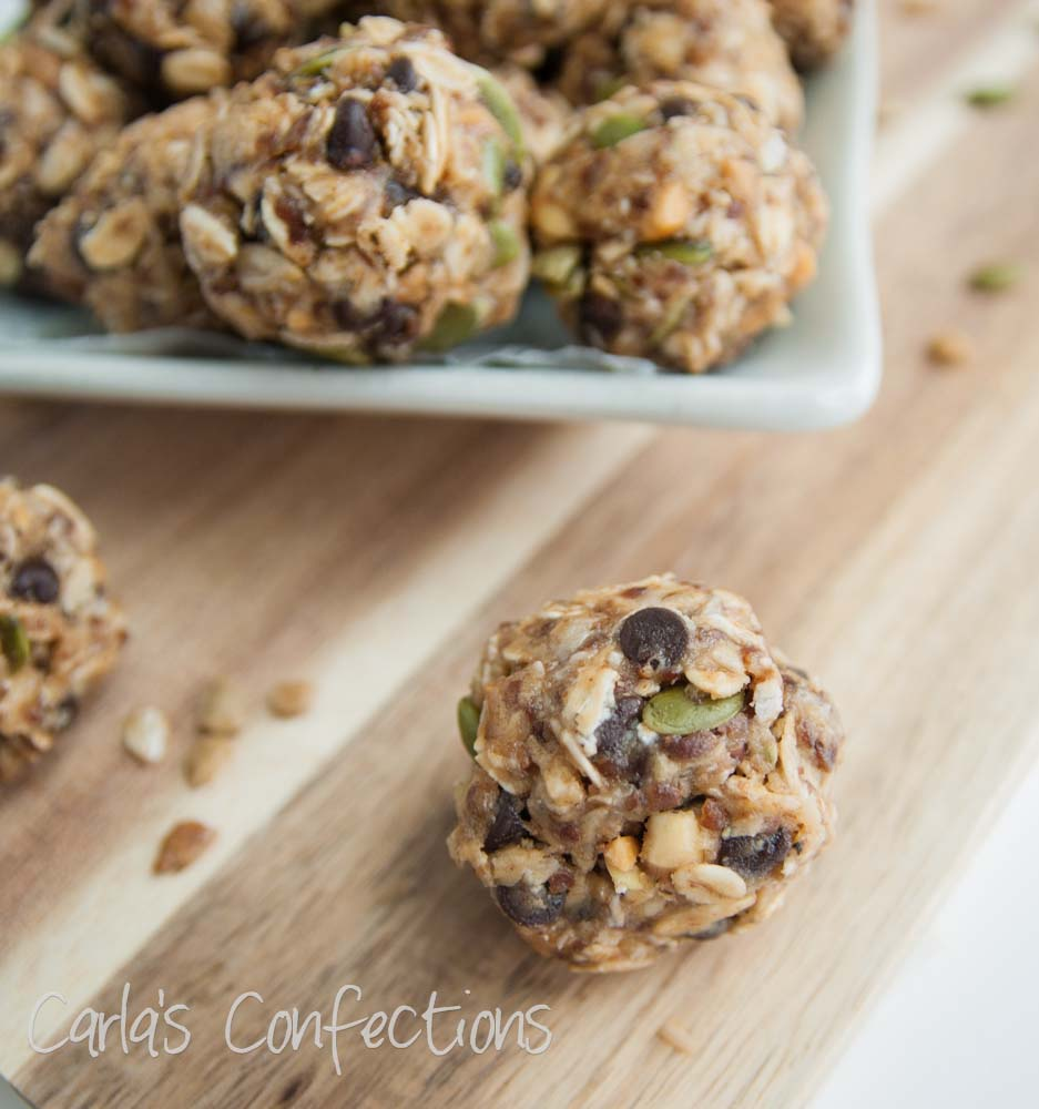 Sunflower pumpkin seed no bake energy balls from Carla's Confections