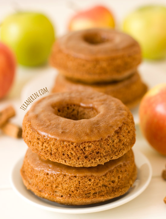 Baked Apple Butter Donuts – 100% whole grain and dairy-free, these taste incredible! | texanerin.com