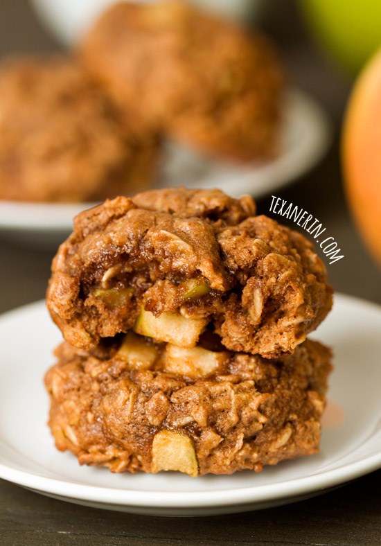Apple Cookies – 100% whole grain, dairy-free and not too sweet! Full of fall flavor. | texanerin.com