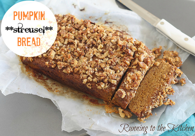 Pumpkin streusel bread from Running to the Kitchen