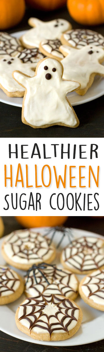 These healthier Halloween sugar cookies with cream cheese frosting are 100% whole grain, soft, chewy and taste just as delicious as the more traditional kind!