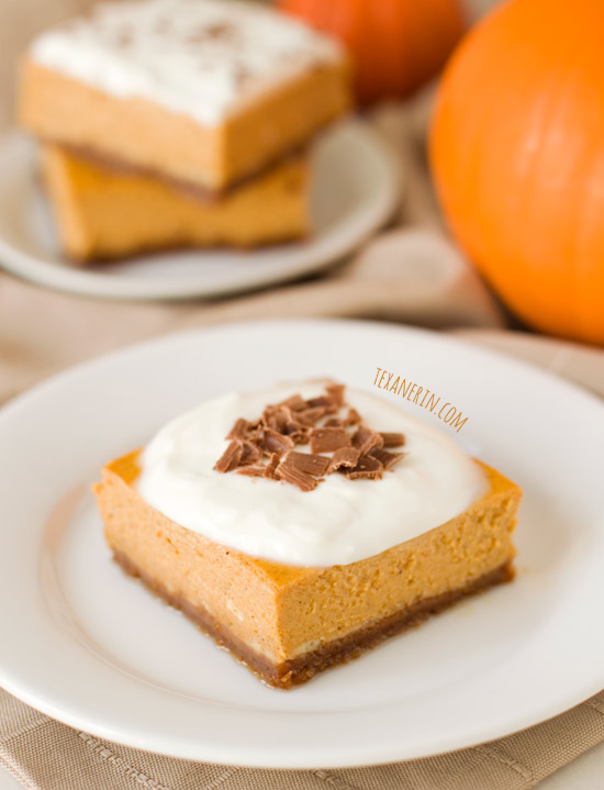 Quick and Easy Lighter Pumpkin Cheesecake Bars | texanerin.com