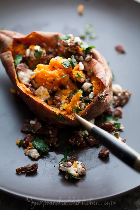 Baked Feta Stuffed Sweet Potatoes
